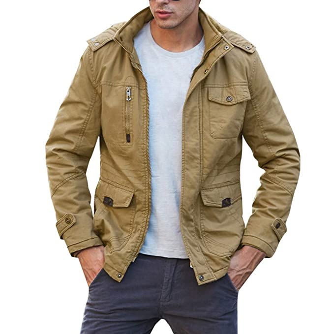 Amazon.com : 2019 Men New Coat, Fashion Mens Autumn Winter Casual Pocket Zipper Thermal Leather Jacket Top Coat : Sports & Outdoors