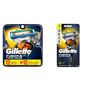 Gillette Men's Razor Blades, 12 Blade Refills with Handle & 2 Blade Refills