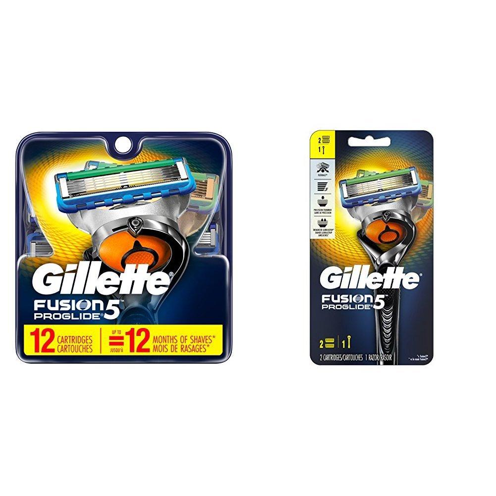Gillette Men's Razor Blades, 12 Blade Refills with Handle & 2 Blade Refills
