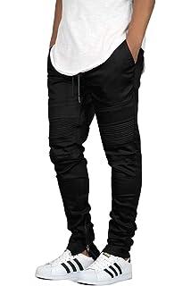 f1014e790ff JD Apparel Men s Slim Fit Biker Jogger Pants with Shirring Detail at ...
