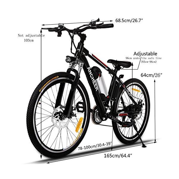 ANCHEER Bicicletta Elettrica Pieghevole Bici da Montagna Ebike con Batteria al Litio da 26 Pollici Grande capacità 36V… 2 spesavip
