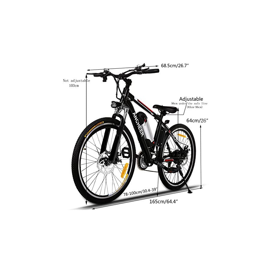 ANCHEER Power Plus Electric Mountain Bike Removable Lithium Ion Battery, Battery Charger