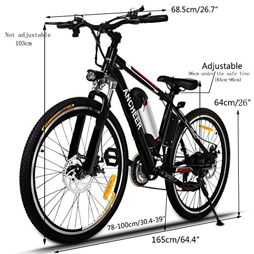 ANCHEER Electric Mountain Bike with 36V, 8AH Removable Lithium-Ion Battery 250W Electric Bike for Adults with Battery Charger