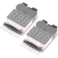Akozon 2 teile/satz Batterie Niederspannungsalarm 1 S-8 S Summer Anzeige Checker Tester