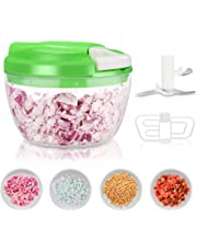 Manual Food Chopper, Telgoner 520ML Onion Chopper Vegetable Choppers 3 Blades Speedy Easy Pull Handheld Mini Chopper Food Processor Blender Mincer Mixer for Veggie Salad Meat Garlic Nut Fruit Herb