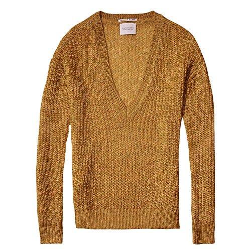 (Maison Scotch Deep V-Neck Soft Womens Knit Colonel Yellow Melange L)