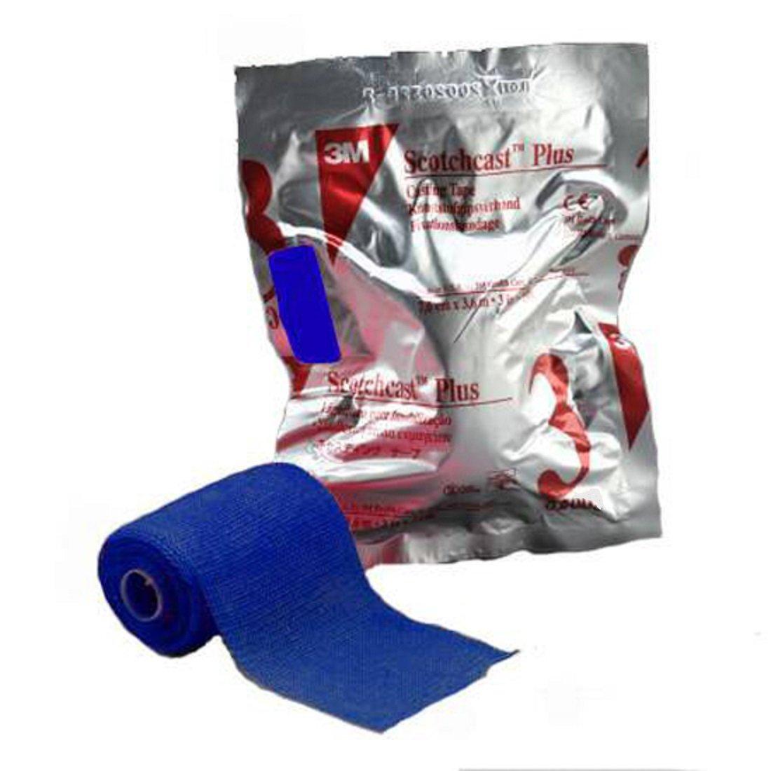 3M Scotchcast Plus Fiberglass Cast Tape 4 Inch X 12 Foot (BLUE) - 1/Roll