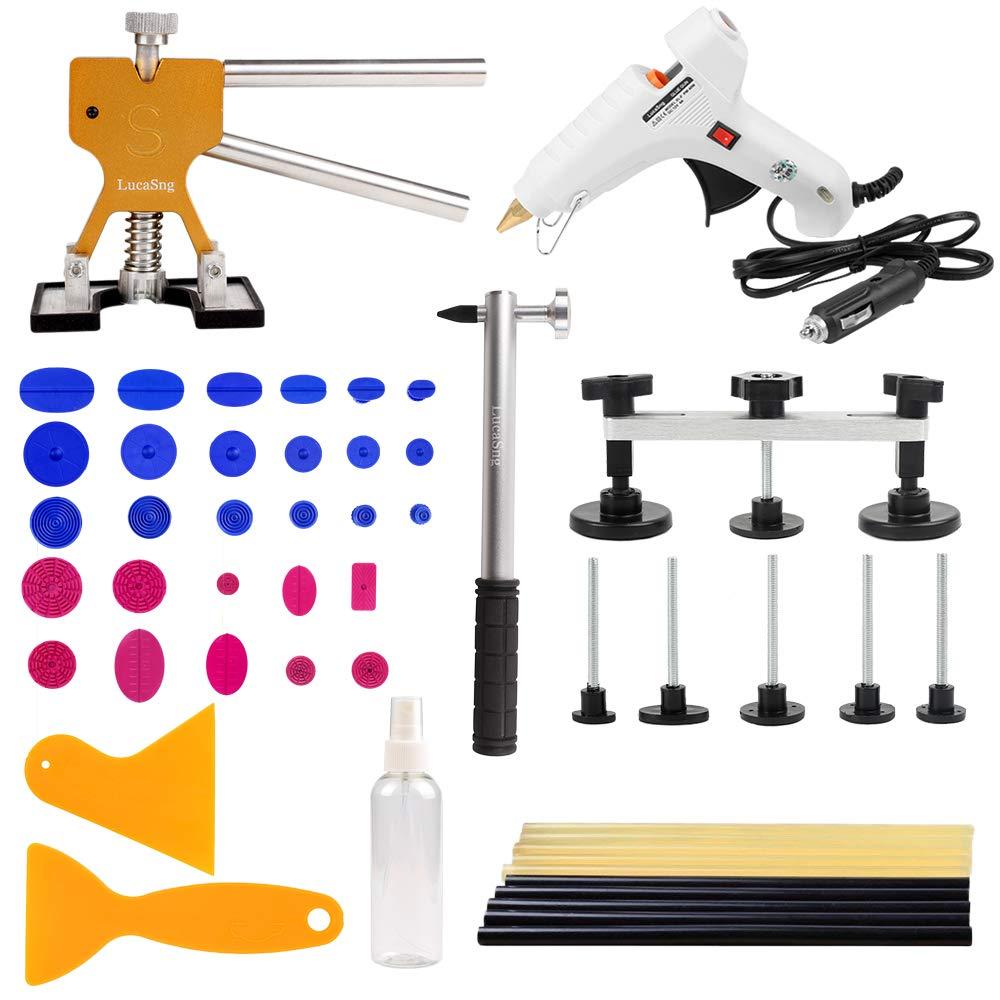 LucaSng 51 Pcs Car Body Paintless Dent Puller Removal Repair DIY Tools Kits with Car Hot Gun/Glue Sticks/Dent Lifter/Suction Tab/Dent Hammer/Bridge-Silver