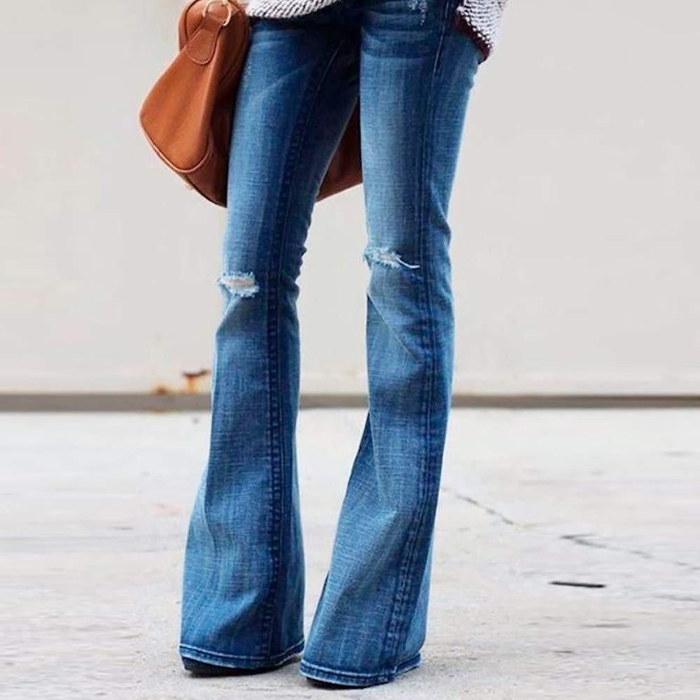 Damen Schlaghose Jeans Skinny Schlagjeans 70er Bootcut Stretch Röhre Retro Pants
