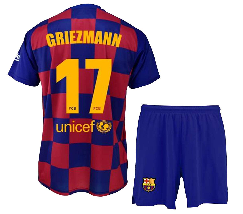 Conjunto Camiseta y pantal/ón 1/ª equipaci/ón FC Ni/ño Talla 8 Barcelona 2019-20 Replica Oficial con Licencia Dorsal 17 Griezmann