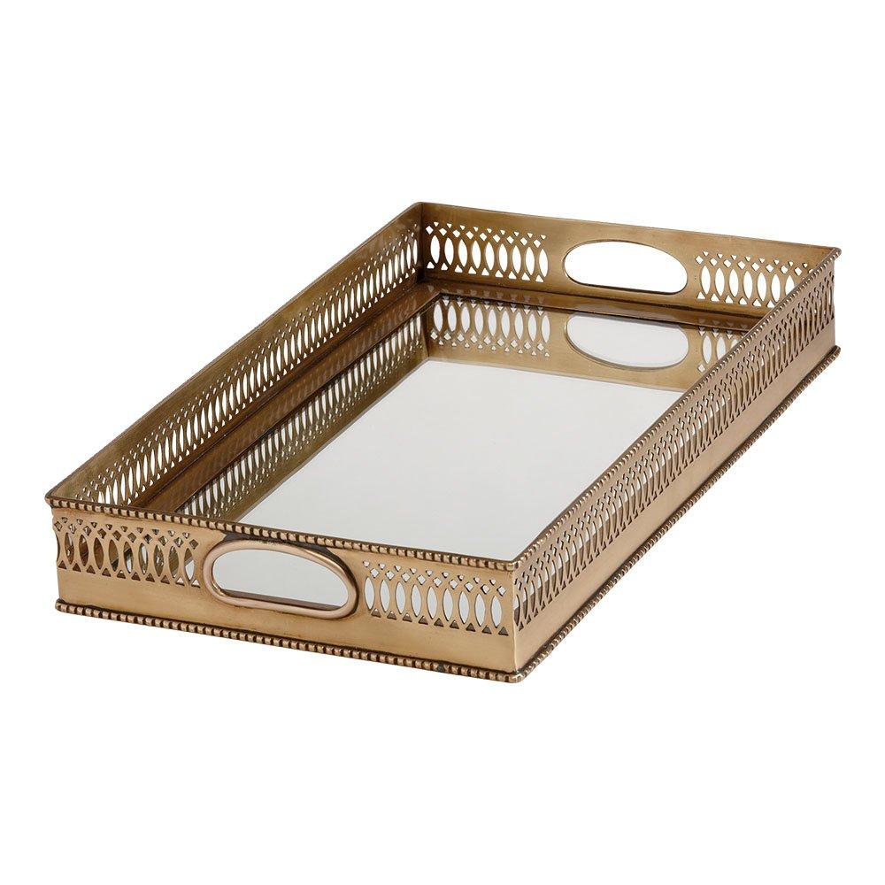 Ethan Allen Rectangular Mirrored Brass Tray