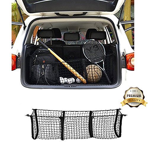 Three-Pocket Mesh Storage Net - Black Mesh Vehicle Cargo Storage Car Trunk Organizer with 3 Mounting Options by Vstartek
