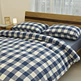 Libaoge 4 Piece Bed Sheets Set, Blue White Grid Plaid Checkered Pattern, 1 Flat Sheet 1 Duvet Cover and 2 Pillow Cases
