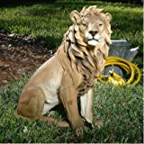 Cheap 27″ Regal Sitting Lion King of Beasts Outdoor Garden Sculpture Statue