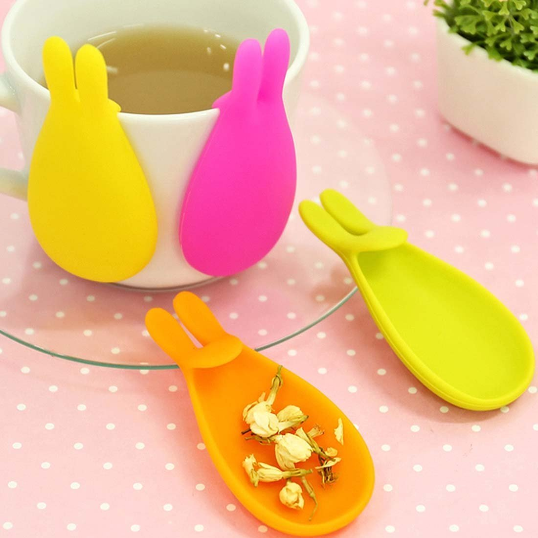 Naranqa Adorable Cute Bunny Tea Bag Holder and Resting Caddy Spoon Rest Set of 5, Assorted Color, Best Gift for Home and Office