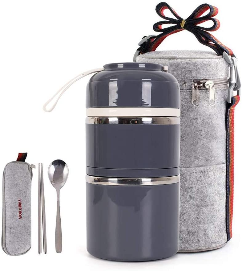 Cute Lunch Box Insulated Lunch Bag Bento Box Food Container Storage Boxes With Cutlery For Adults Office Camping(2 tiers) (2 tier grey)