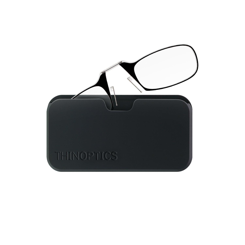 ThinOptics Reading Glasses + Black Universal Pod Case | Black Frame, 2.00 Strength Readers