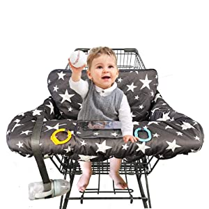 "Shopping Cart Cover for Baby, 100% Cotton Sitting Area, with Bottle Strap and 6.5"" Cell Phone Holder Toddler 2-in-1 High Chair Cover Summer Grocery Cart Cushion for Boy or Girl Large Star Print"
