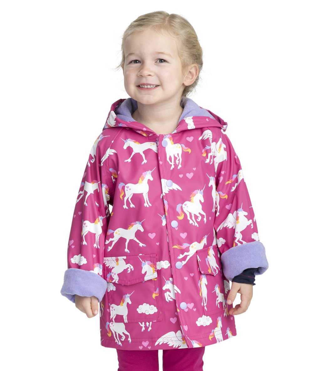 Hatley Little Girls' Printed Raincoats, Rainbow Unicorns, 6