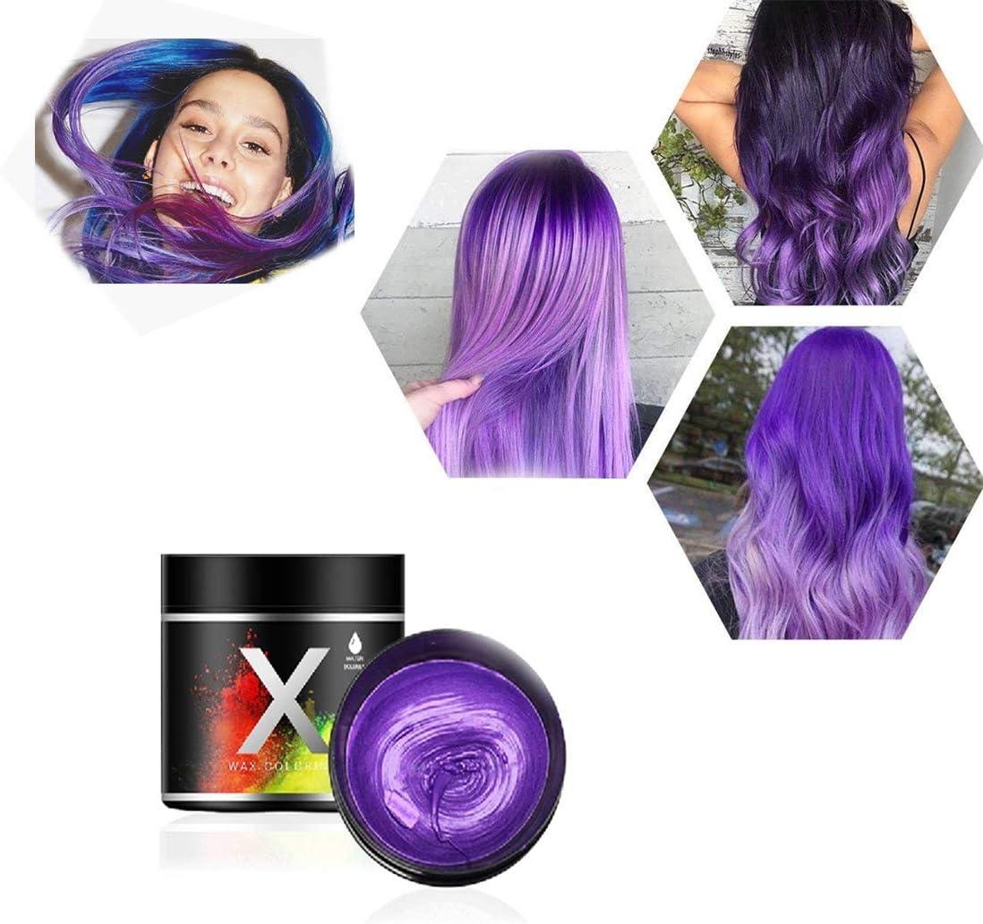 Cera Púrpura del color del pelo, modelado temporal de una sola vez Cera natural del teñido de pelo del color, crema temporal del peinado, cera que ...