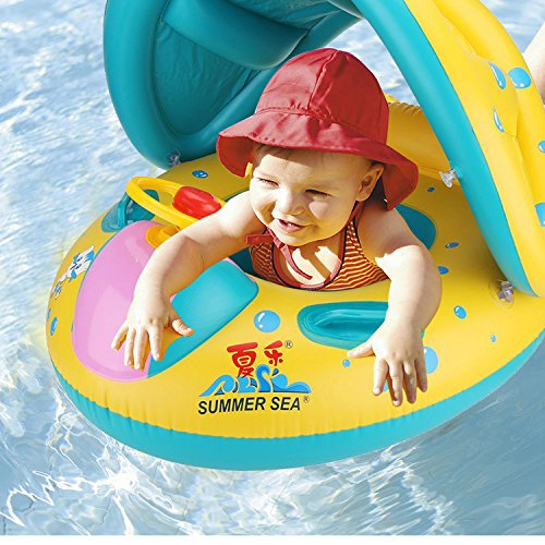 Baby Pool Float With Sun Canopy Shade Inflatable Baby Swimming Floats Boat For The Baby Kids