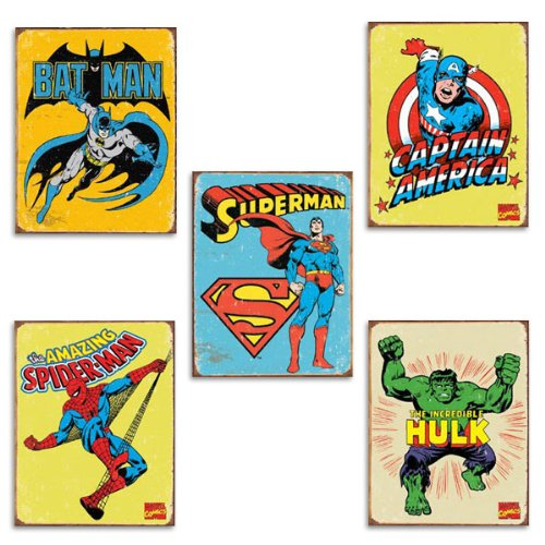 Marvel DC Tin Sign Set Spider-Man Hulk Captain America Ba...