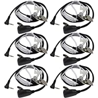 TENQ Advanced Nipple Covert Acoustic Tube Bodyguard FBI Earpiece Headset for Walkie Talkie Two Way Radio 1 Pin Motorola Cobra Talkabout (6 Packs)