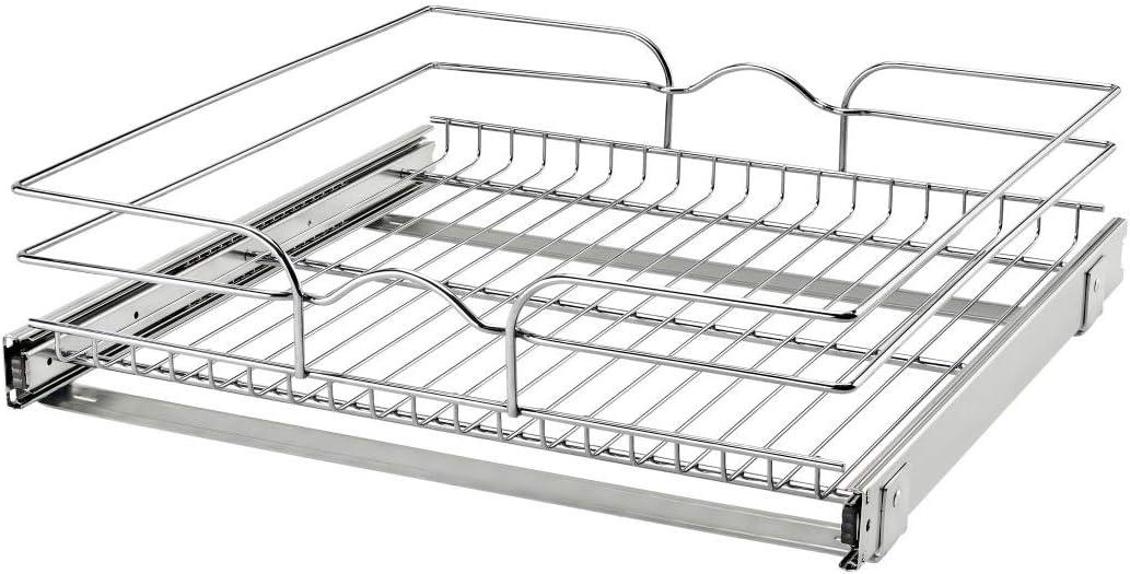 Silver Rev-A-Shelf 5WB1-1218CR-1 12 Inch x 18 Inch Single Wire Basket Pull Out Shelf Storage Organizer for Kitchen Base Cabinets