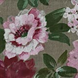 100% Linen Large Floral Print Fabric - Flowers in Bloom - Authentic French Designer Fabric 55 inches Wide ~ Sold By The Yard