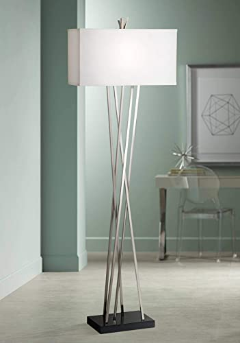 Modern Floor Lamp Brushed Steel Asymmetry White Linen Rectangular Shade