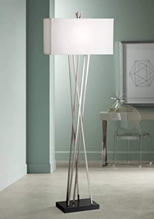 Modern Floor Lamp Brushed Steel Asymmetry White Linen Rectangular