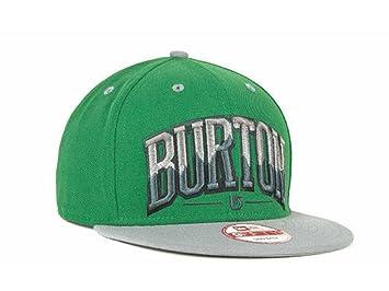 Burton New Era Snowboarding Bam Green Gray Flat Brim Snapback Hat Osfa b56278bdd38