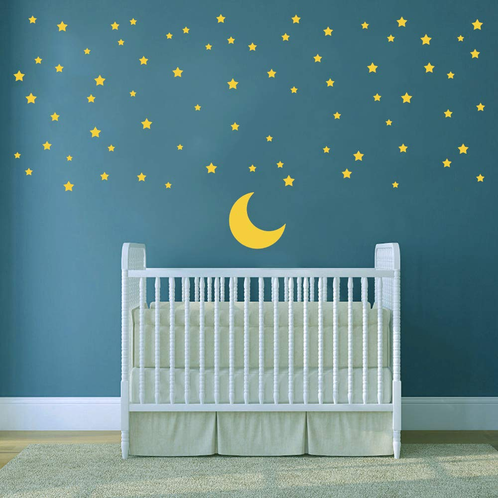 ufengke Moon and Stars Wall Stickers Good Night Removable Vinyl Wall Art Decals Wall Decor for Kids Bedroom Nursery FangKuai .