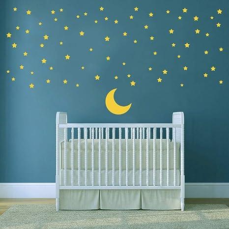 Ufengke Adesivi Murali Luna E Stelle Adesivi Muro Buona Notte Bambini Camerette Soggiorno Asilo Nido Decorazioni Parete
