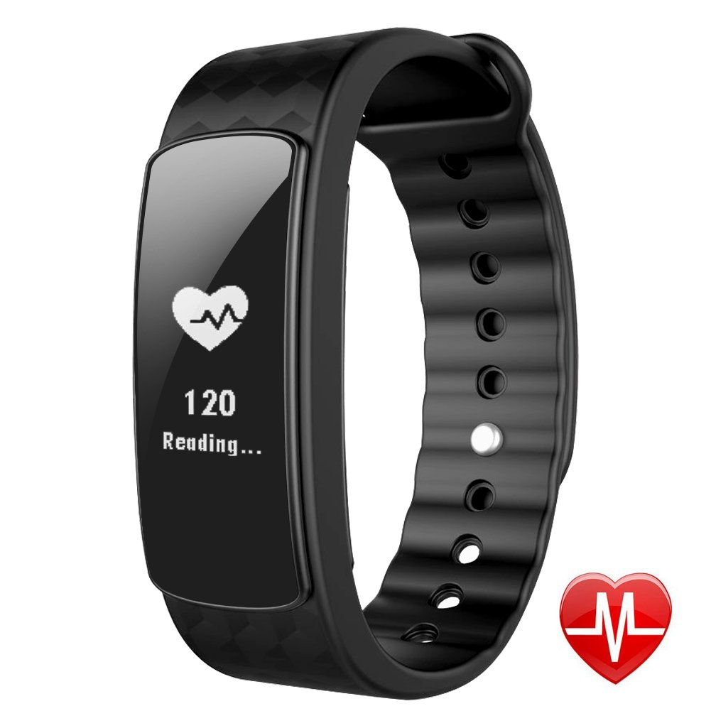 Smart Watch with Heart Rate Monitor、lintelek Fitness TrackerバンドBluetooth 4.0防水健康睡眠モニター歩数計ステップカウンタカロリー/ for Android IOS B01N4WY1ML ブラック