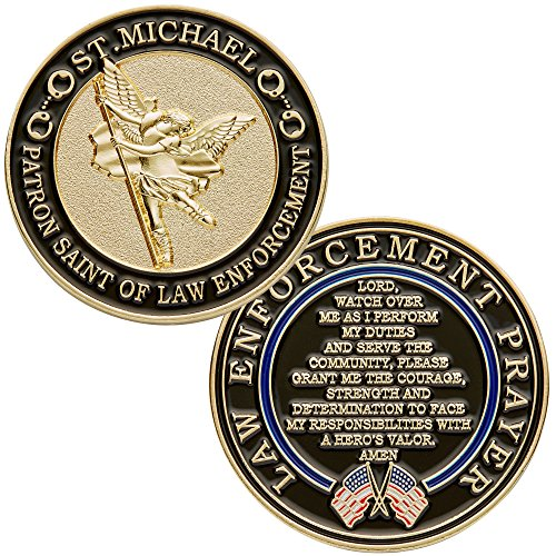 St. Michael Patron Saint of Law Enforcement Challenge Coin with Hero's Valor Prayer Single Coin (1-Pack) (Enamel Blue Due)