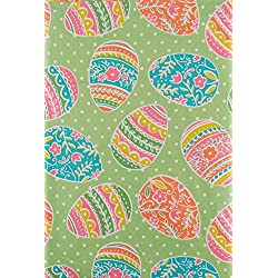 Pastel Colored Easter Eggs Vinyl Tablecloth on Green Background with White Polka Dots - Flannel Back (52x70)
