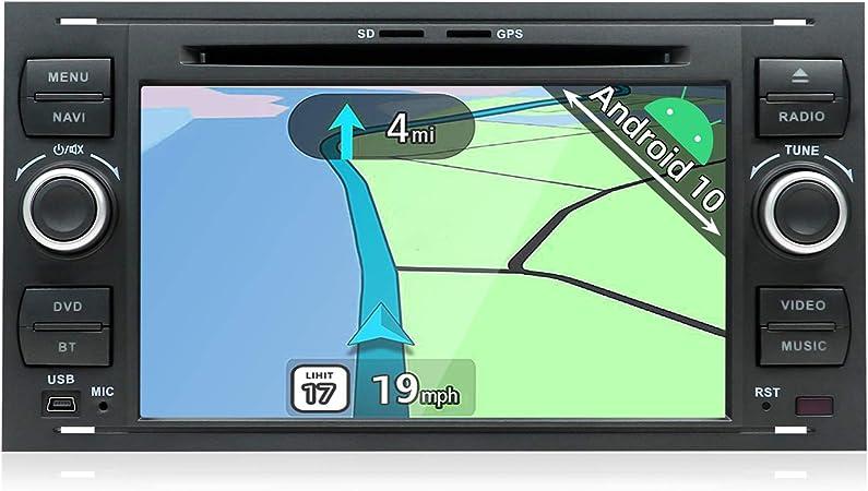 YUNTX Android 10 Autoradio Compatible con Ford Transit/Focus/Fiesta/Fusion/Kuga - 2G32G - GPS 2 DIN - Cámara Trasera y micrófono Gratis - Soporte ...
