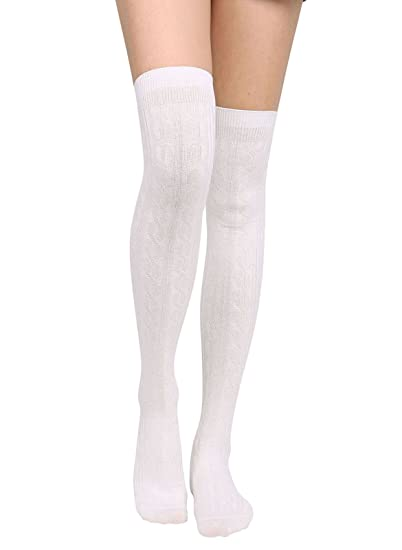 8fb445079 Knee High Socks Womens Cable Knit Winter Thigh High Stockings White at  Amazon Women s Clothing store