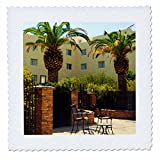 3dRose Jos Fauxtographee- Palms at Hotel - A hotel in Mesquite Nevada with palm trees and chairs - 16x16 inch quilt square (qs_273463_6)