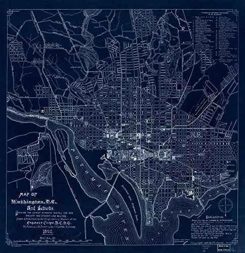 Vintography 18 x 24 Blueprint Style Reproduced Old Map 1892Map Washington, D.C Suburbs : Showing The Latest Streets All The New Railway Street-car Routes Averill, F. L. (Frank L.) District (Best Suburbs Of Washington Dc)