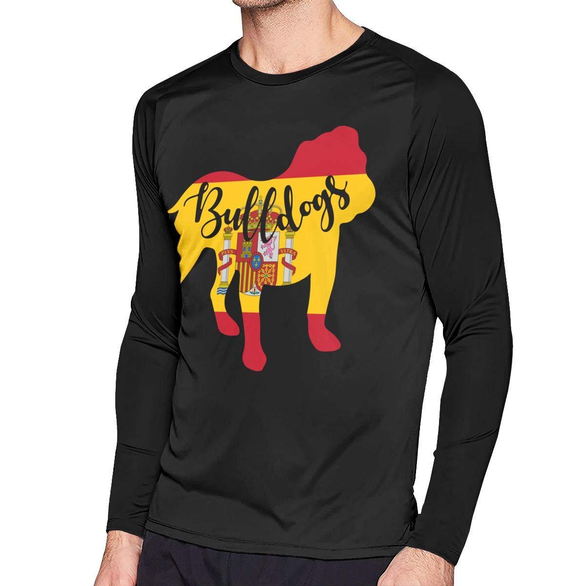 Spain Flag Bulldog Mens Casual Crew Neck Long Sleeve T Shirt Raglan Top