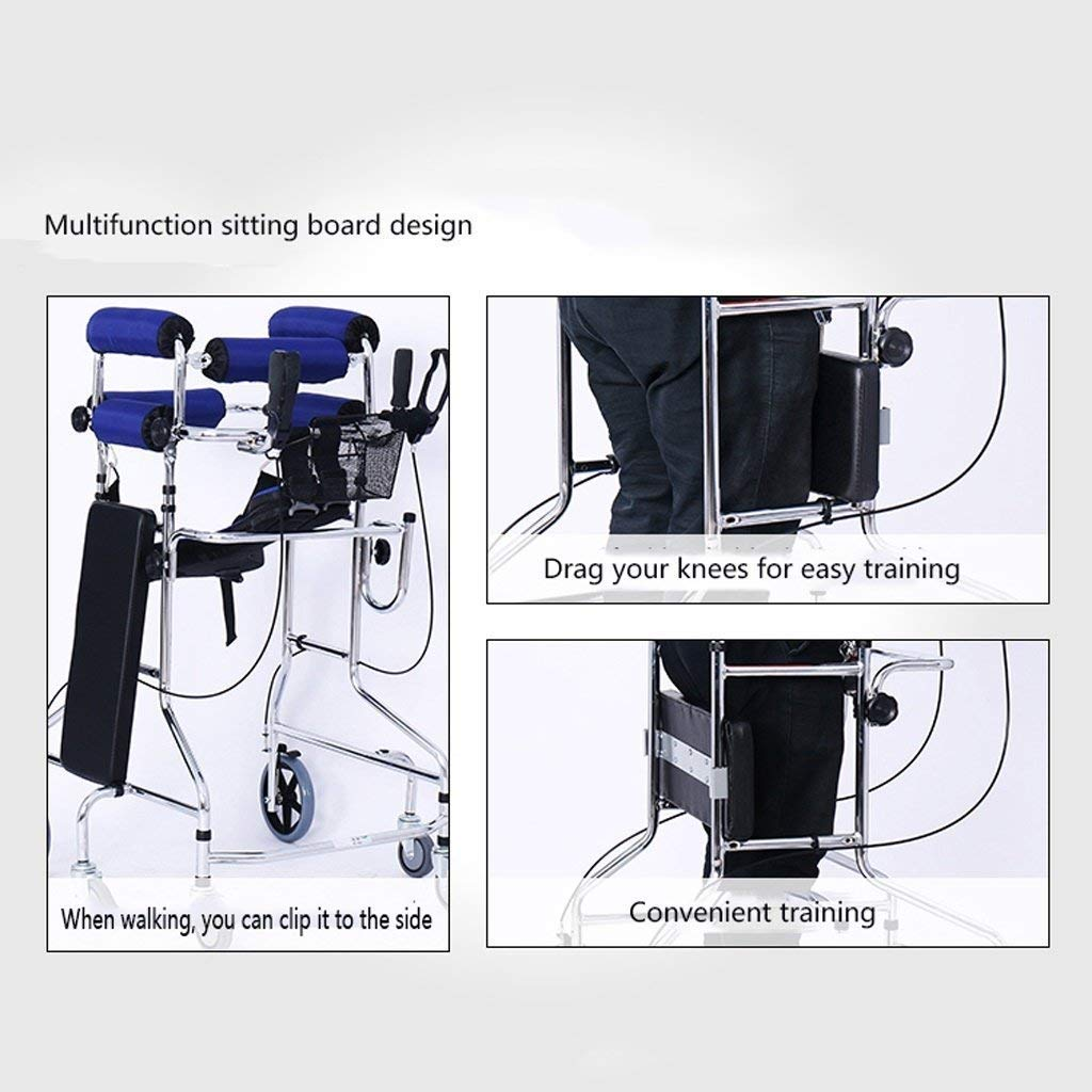 Folding Six-Wheel Roller Walker with Seat Adjustable Height Aluminum Walking Frame Suitable for Elderly Disabled Lower Limb Training Standard Walker Auxiliary Walking Safety Walker (Color : Blue) by YL WALKER (Image #8)