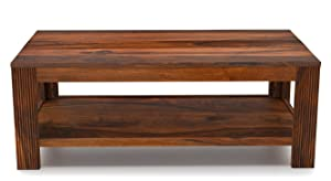 Urban Ladder Striado Coffee Table with Shelf (Teak)