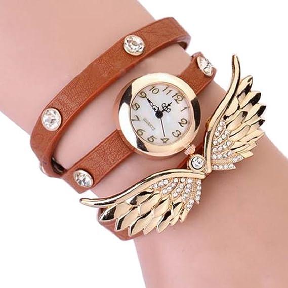 duoya Mujer Vintage ángel alas Colgante Rhinestone Pulsera de cuero cuarzo reloj de pulsera – marrón
