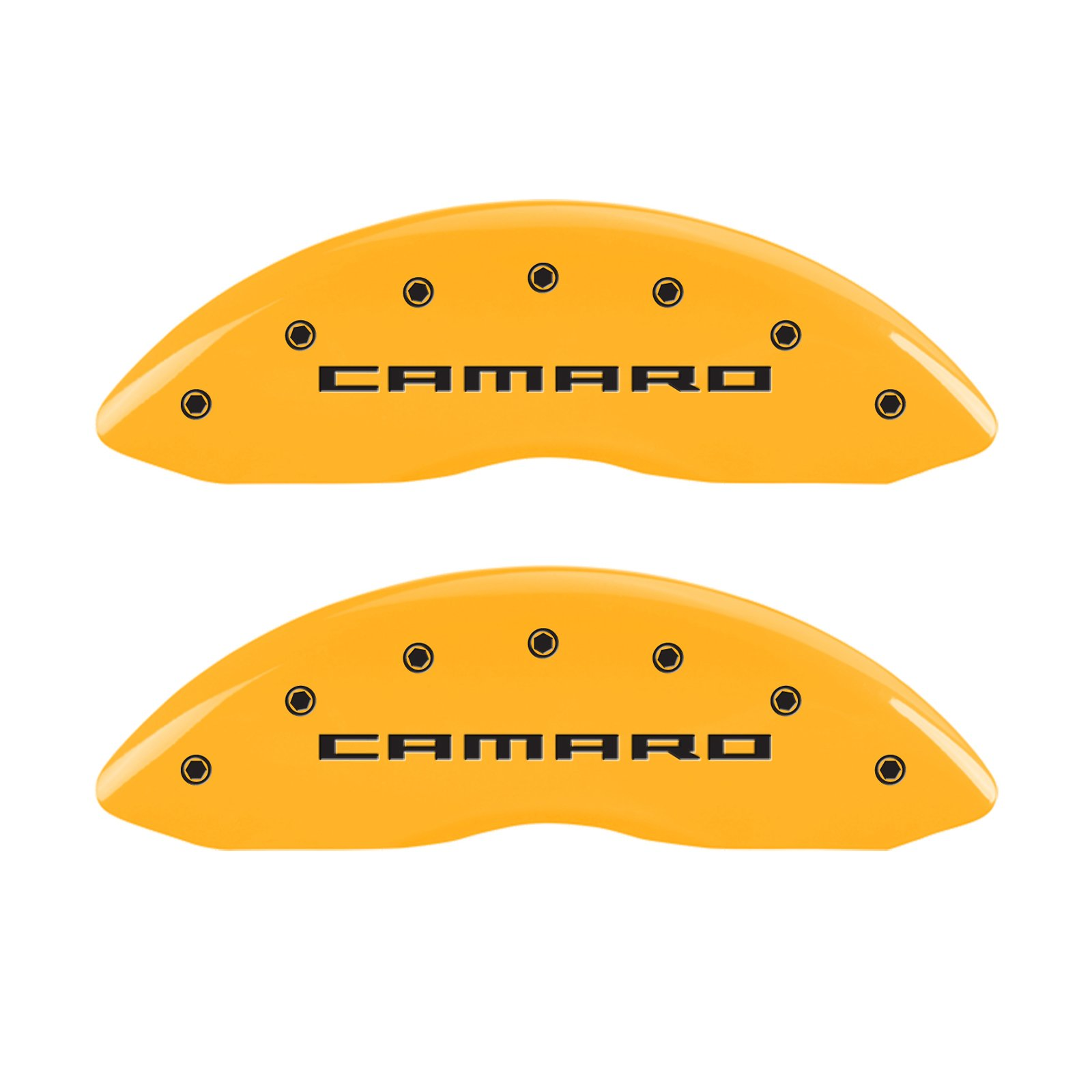 MGP Caliper Covers 14033SCA5YL Yellow Caliper Cover (Set of 4, Engraved Front and Rear: Gen 5/Camaro, Yellow powder coat finish, black characters) by MGP Caliper Covers