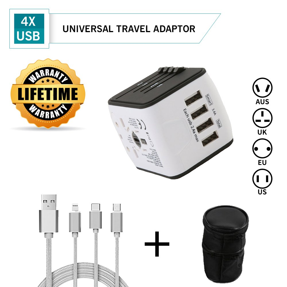 Universal 4 USB International Travel Power Adapter Charger W/Smart High Speed 2.4A Wall Charger, European Adapter, Worldwide AC Outlet Plugs Adapters for Europe, UK, US, AU, Asia, BONUS- 3 in 1 Charging Cable for iphone, ipad, Android phones,Carry Bag by a