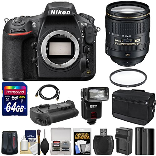 UPC 689466812541, Nikon D810 Digital SLR Camera & 24-120mm f/4 VR Lens with 64GB Card + Case + Flash + Grip + Battery + GPS Unit + Kit