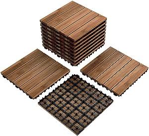 Yaheetech Patio Pavers Wood Flooring Deck Tiles Interlocking Wood Patio Tiles 11 Pack Tiles Patio Garden Deck Poolside Indoor Outdoor 12 x 12