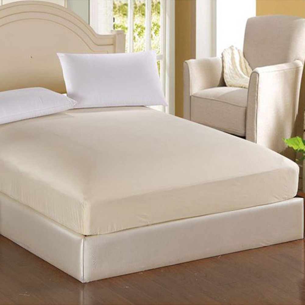 Ragdoll50 Mattress Pad Protector, Fitted Sheets Percale Single King Super King Size Bed Pad Protective Jacket 120200cm/150200cm/180200cm(180200cm,beige)